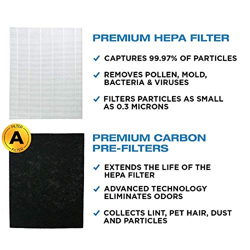 Replacement HEPA Filter with Carbon Pre Filter Compatible with Coway Mighty Air Purifier 1 HEPA + 4 Carbon Filters…