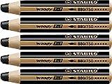 Matita colorata Multi-Funzione - STABILO woody 3 in 1 - Confezione da 5 - Nero Neutro