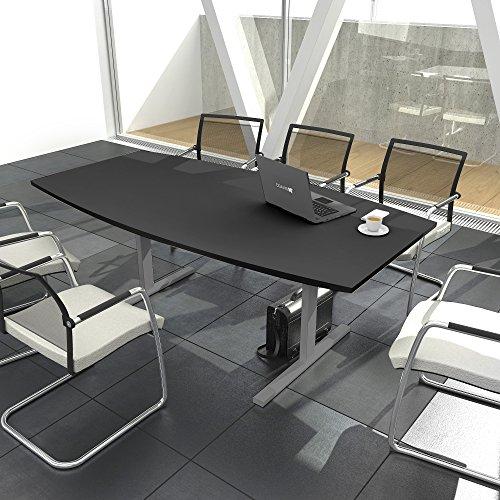 Weber Büro Easy Konferenztisch Bootsform 180x100 cm Anthrazit Besprechungstisch Tisch, Gestellfarbe:Silber