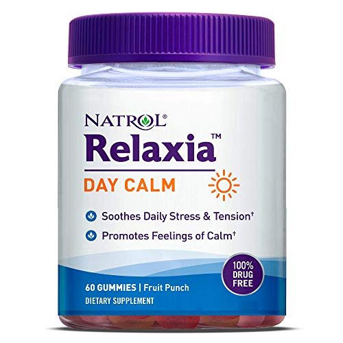 Natrol Relaxia Day Calm Daily Stress Relief Gummies, Fruit Punch Flavor, 60 Gummies