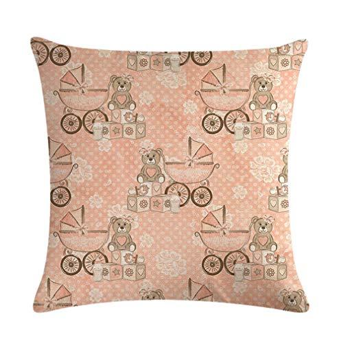 Nunubee Throw Pillow Covers Baby Bear Stroller Series Linen Pillowcases...