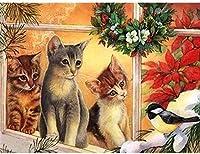 クロスステッチキット-簡単なパターンクロスステッチ刺繡キット-家の装飾のために数えられる刻印された供給-かわいい猫動物16X20インチ
