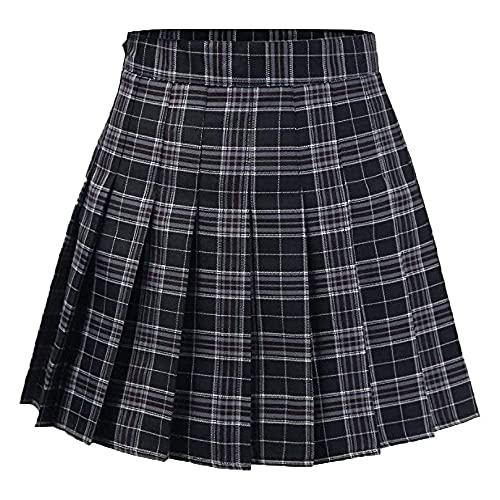 Girls Women Skirts High Waist Pleated Skirt School Uniform Mini Skirt Lined Shorts Plaid Skirt (XX-Large, Blue Plaid)