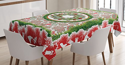 Ambesonne Christmas Tablecloth, Fir Tree Wreath with Vivid Bauble Ornate Flowers Bells Presents Print, Dining Room Kitchen Rectangular Table Cover, 52' X 70', Red Green