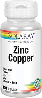 Solaray Zinc Copper Amino Acid Chelates | Healthy Cellular, Heart & Thyroid Function Support w/Pumpkin Seeds & Kelp | Non-...