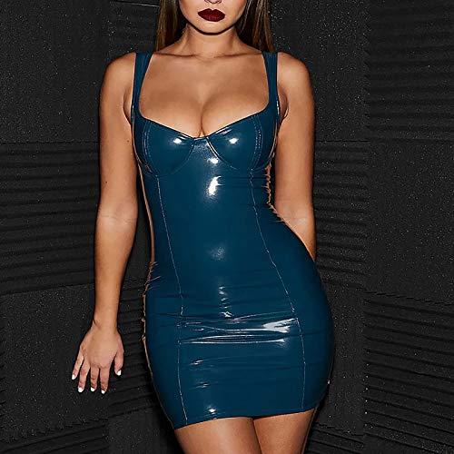 Vestido de Tubo Sin Mangas Elástico de Cuero Sexy para Mujer, Corte Ajustado, Superficie Brillante, Vestido Ajustado Elástico de Látex de Corte Bajo, Ropa de Club Metálica Brillante,Azul,M