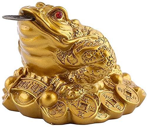 JJDSN Estatuas de Rana de la Fortuna China, Resina de Sapo, Dinero, Riqueza, Rana Dorada, Sapo, Monedas, esculturas, Figuras, Adornos de Mesa de Feng Shui