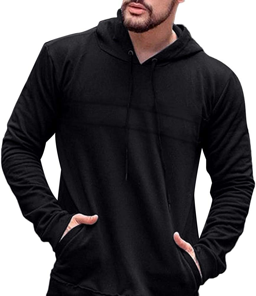 F_Gotal Mens Casual Slim Fit Long Sleeve Hoodie Lightweight Basic Designed Casual Hooded Pullover Outwear Jacket Coats