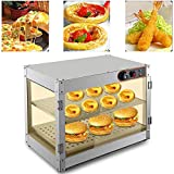 Vitrina de calor caliente, vitrina de acero inoxidable, calienta 30-85 °C, 800 W, calentador de alimentos, calentador de alimentos, 61 x 38 x 51 cm, para panaderías, cafeterías, cantinas