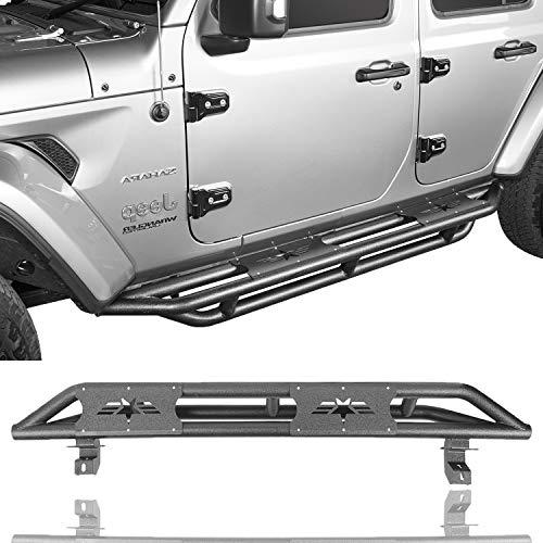 V8 GOD Jeep Wrangler JL Side Step for 2018 2019 2020 JL Wrangler Unlimited 4-Door - Textured Black Running Boards Rock Sliders Tubular Nerf Bars Step Bar w/Star Pattern (Sold As Pair)