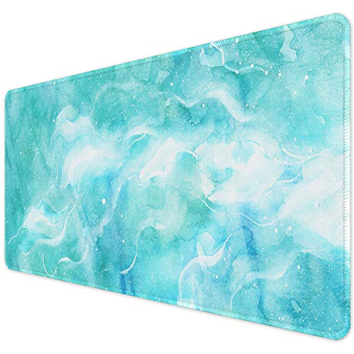 """ITNRSIIET Desk Pad, Mouse Pad,Office Desk Mat with Stitched Edges Non-Slip Waterproof, Easy Clean Desk Table Protector, Laptop Desk Writing Mat 35.4"""" x 15.7"""", Corrugated Green Marble"""