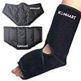 Premium Foot Ankle Pain Relief Ice Wrap with 2 Cold Gel Packs, Hot Cold Therapy for Achilles Tendon Injuries, Plantar Fasciitis, Bursitis, Sprained & Sore Feet (Adjustable Large)