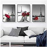 ZAWAGU Conjunto de 3 piezas Cuadro de lienzo con motivos flores rojas rosa roja paraguas imagen mural mural para sala de estar decoración de la sala Conjunto de 3 piezas