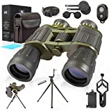 12X50 Military Binoculars with Photography Kit Tripod & Smartphone Adapter Bluetooth Remote Carrying Bag & Strap Bright Lens, Easy Focus Great for Hunting, Camping, Travel, Stargazing, Bird Watching