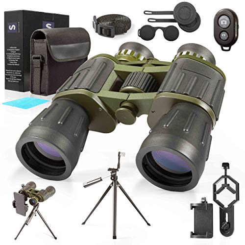 60X50 Military Binoculars with Photography Kit Tripod & Smartphone Adapter Bluetooth Remote Carrying Bag & Strap Bright Lens, Easy Focus Great for Hunting, Camping, Travel, Stargazing, Bird Watching