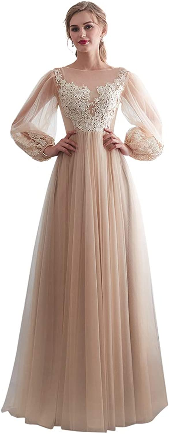 Awishwill Women's Long Sleeve Tulle Appliques Evening Cocktail Dress