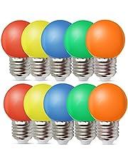 Set van 10 gekleurde gloeilampen LED 1W E27 G45 verlichting gloeilampen, LED gekleurde golf bal gloeilamp, gemengde kleuren rood groen blauw oranje geel