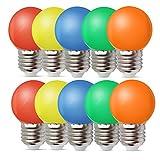 1W E27 Bombilla Bombilla de Color Ahorro de Energía Color Bombilla LED 80LM Conveniente para Decoración Bulbo Llevado 220V AC - Colores mezclados Rojo Verde Azul Naranja Amarillo