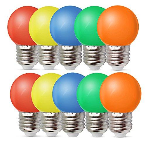 10er Pack Farbige Glühbirnen LED 1W E27 G45 Beleuchtung Glühbirnen, LED Farbige Golf Kugel Glühbirne, Gemischte Farben Rot Grün Blau Orange Gelb