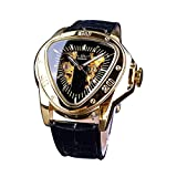 TIME24 Winner Fashion Automatic Mechanical Men's Wrist Watch Triangle Racing Dial Golden Skeleton Dial Leather Strap Black GMT996-6