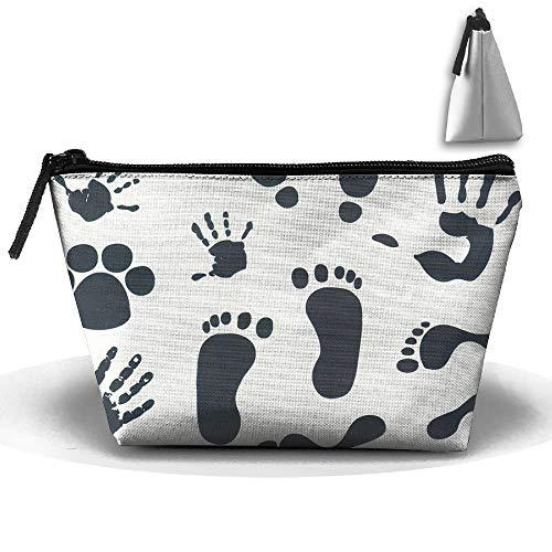 Handprint Footprints Lips Sacco per il trucco in tessuto Oxford Sacchetto per il trucco da donna