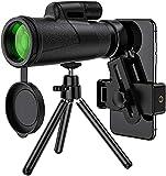GCFG Telescopio monocular Impermeable para Adultos, telescopio de Alta Potencia de 12x50 con Adaptador teléfono Inteligente y trípode Ajustable, bak4 Prisma para observación Aves, Concierto