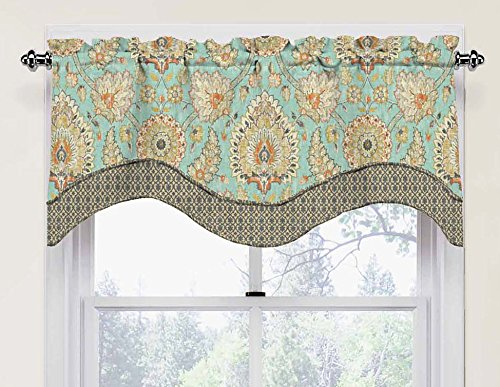 "WAVERLY Valances for Windows - Clifton Hall 52"" x 18"" Short Curtain Valance Small Window Curtains Bathroom, Living Room and Kitchens, Opal"
