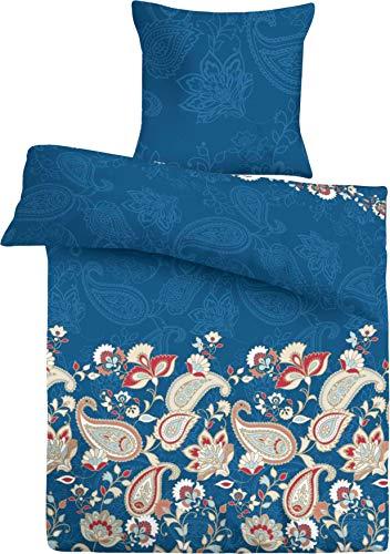 Bettwäsche-Set (2-teilig) im edlen Blau, Bettdeckenbezug 135x200, Kopfkissenbezug 40x80, Renforce 100% Baumwolle mit praktischem Reißverschluss, pflegeleicht, trocknergeeignet, auf Schadstoffe geprüft