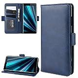 Fcgfh La Carpeta del Soporte del teléfono Celular de Piel for Sony Xperia XZ3, la Carpeta y el Soporte y Las Ranuras for Tarjeta (Negro) (Color : Dark Blue)