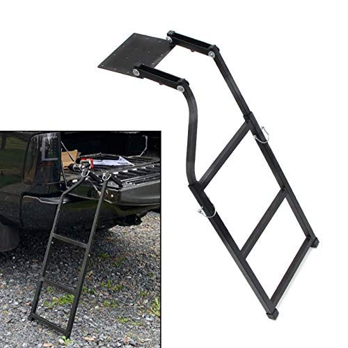 Wocch Universal Tailgate Ladder for Pickup Truck Accessories Upgrade 5 Heights Extendable Tailgate Step with Stainless Steel Self Drilling Hex Screws