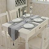 1 camino de mesa clásico con borlas (33 x 180 cm) y cuatro manteles individuales (30 x 40 cm) para decoración de bodas y fiestas de Navidad (gris)