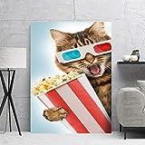 Wfmhra Palomitas de maíz Gato sosteniendo Lienzo Arte de la Pared Cartel Pintura Lienzo impresión Animal Print Cartel decoración Mural Cartel 50x70 cm sin Marco