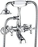 Victoria Bathroom Tub Bathtub Bath Faucet NPSM with Hand Shower Chrome Wall Mounted Clawfoot Tub Faucet Two Handles