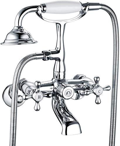 Victoria Bathroom Tub Bathtub Bath Faucet NPSM with Hand Shower Chrome Wall Mounted Clawfoot Tub Faucet Two Handles