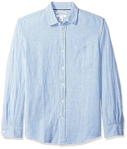 Amazon Essentials Chemise à manches longues en lin pour homme Coupe classique, vichy bleu, US XXL (EU XXXL - 4XL)