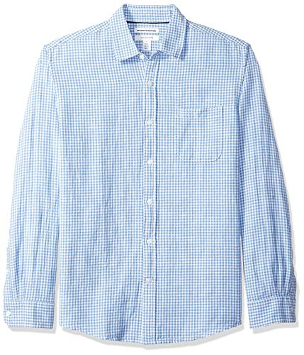 Amazon Essentials - Camisa regular de lino a cuadros con manga larga para hombre, Azul (Blue Gingham), US M (EU M)