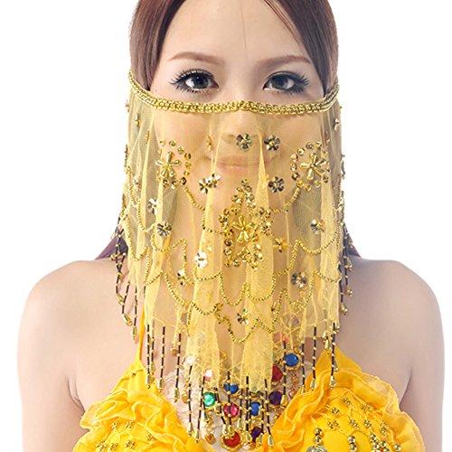 Best Dance Gesichtsschleier zum Bauchtanzen für Damen, mit Perlen, Pflaumenfarbe Gr. Einheitsgröße, gelb