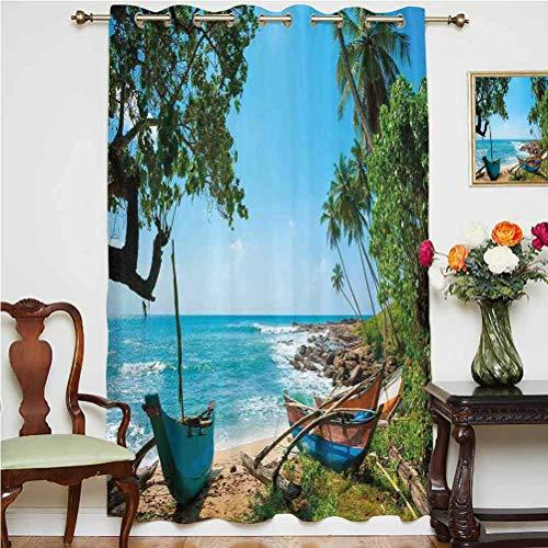 Cortina de ventana para decoración de playa, paisaje tropical con palmeras y barcos de pesca, paisaje caribeño, parte trasera térmica, panel individual de 132 x 160 cm, para dormitorio verde y azul