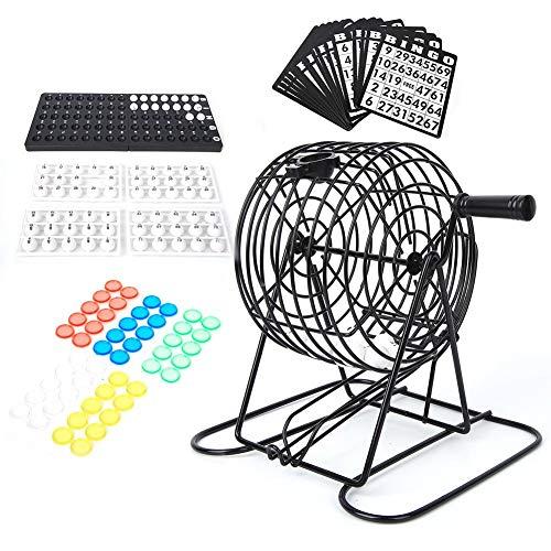 Seacanl Juego de Bingo, máquina Tradicional de Bolas de lotería, Juego de Vino Juego de Bingo con Jaula de Bingo, Bolas de Bingo, Lucky Ball Bar Party Lottery Machine Juguete de Escritorio