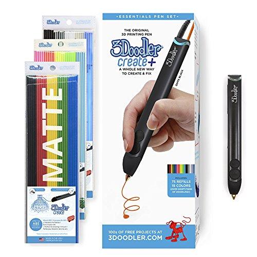 3Doodler Create+ 3D-Druck Pen-Set mit 75 Filamenten (600 Fuß Extrudierter Kunststoff), Onyx Black, 2018 Modell (EU-Plug)