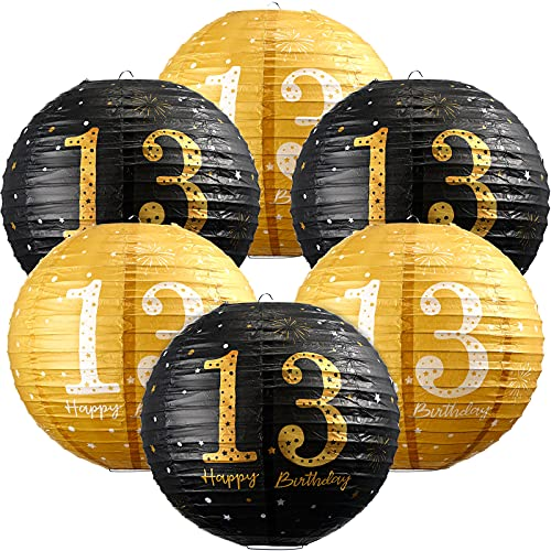 6 Stücke 13. Geburtstag Dekorationen Happy 13. Birthday Hängende Papierlaternen Schwarz Gold Glitzer 13. Jahrstag Party 13. Geburtstag Schild Dekorationen für 13. Jungen Mädchen Geburtstag