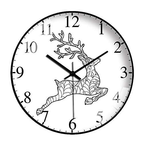 HPPSLT Reloj de Pared con Cabeza de Ciervo de Dibujos Animados nórdicos Reloj de Arte Reloj silencioso de Dibujos Animados de Cuarzo-3