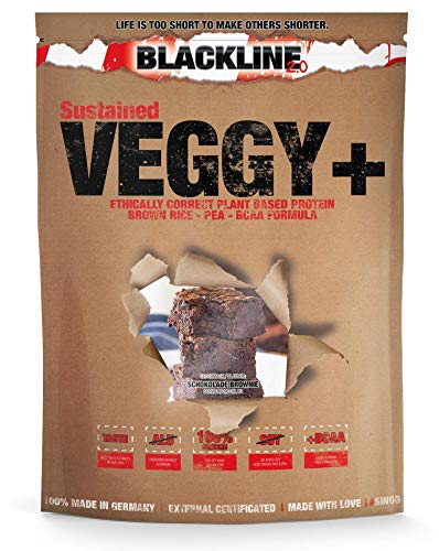 sinob Veggy+ (Schokolade Brownie) Veganes Proteinpulver aus Reis- und Erbsenprotein + BCAA. 1 x 900 g