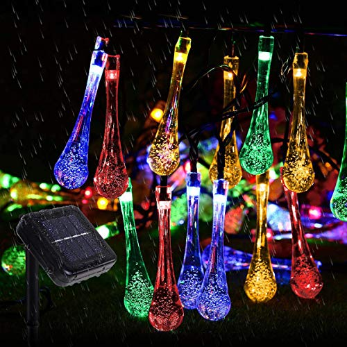 50 LED Multi Color Solar String Lights Outdoor Garden String Fairy Lights Solar Powered 5M Waterproof Crystal Raindrop Decorative Lights for Garden, Terrace, Patio, Fence, Christmas, Parties
