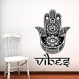YuanMinglu Patrón Tribal Mandala Flor Silueta Pared calcomanía hogar Sala de Estar Arte religioso decoración Vinilo Pared Pegatina Mural 91x116cm