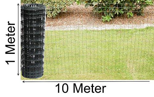 Schweißgitterzaun als Gartenzaun Wildzaun Gitterzaun in grau anthrazit 1,0 m - 1,5 m hoch Zaungitter Zaundraht Gitterdraht Drahtgitter Maschenzaun (1,0 m hoch 10 m lang)