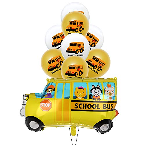 School Ballons Decorations:School Bus Foil Balloons,Gold and White School Bus Latex Balloons for Decoration for Graduation Or Back to School Class Room First Day of School