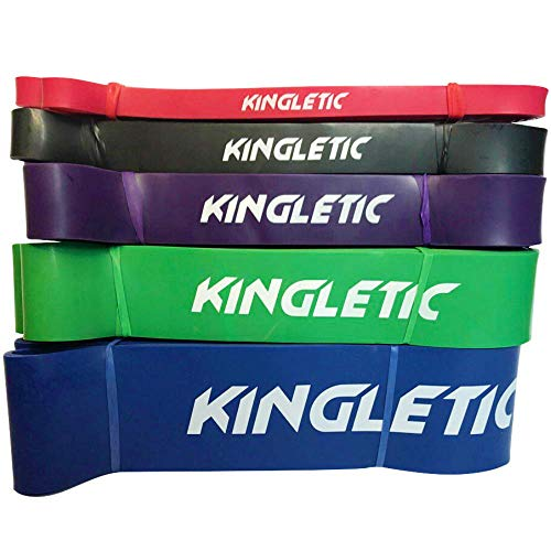 Kingletic Elastische Fitness-Loop-Bänder für Fitnessstudio, Powerlifting, Crossfit aus Naturlatex + eBook, SET COMPLETO (5 ELASTICI)