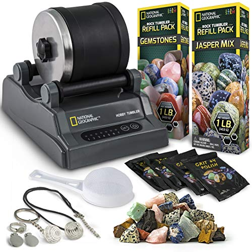 NATIONAL GEOGRAPHIC Hobby Rock Tumbler Kit - Rock Polisher for Kids & Adults, Noise-Reduced Barrel, Grit, 2.5 Pounds Raw Gemstone & Jasper Mix, Great STEM Hobby Kit