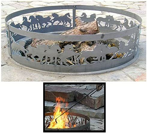 PD Metals Steel 5 ☆ popular Campfire Fire Ring with sold out Mustang Design Unpainted